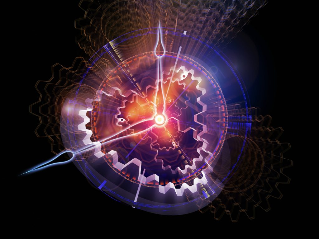 Background design of clock hands, gears, lights and abstract design elements on the subject of time sensitive issues, deadlines, scheduling, temporal processes, past, present and future