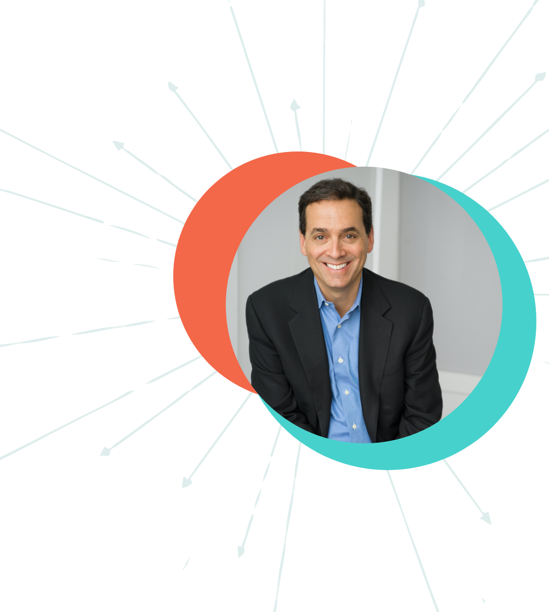 Daniel H. Pink with background elements (circles and arrow)